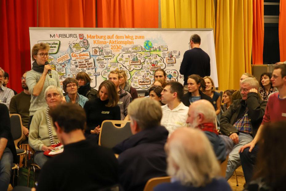 """Ein*e Teilnehmer*in aus jeder Gruppe trug ein Ziel und eine Maßnahme im Plenum vor. Diplom-Designer Christoph Illigens (im Hintergrund) hielt die Vorschläge in einem """"Graphic Recording"""" fest. © Birgit Heimrich, Stadt Marburg"""